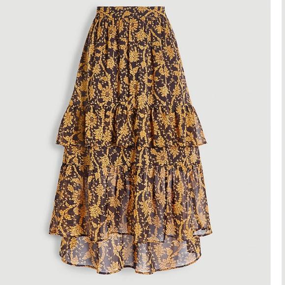 An Taylor Summer Tall Floral Flounce Midi Skirt